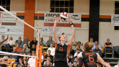 Volleyball Player Sets Ball