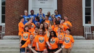 Faithways Campers on stairs of Giddings Hall