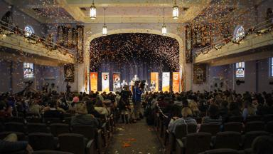 Confetti Rains Down in John L. Hill Chapel