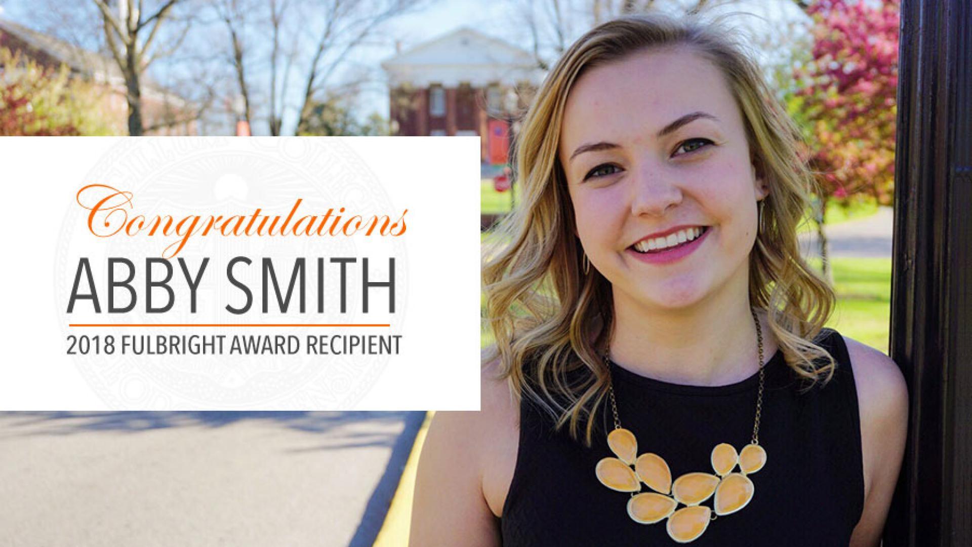 Alumna Abby Smith '16 Awarded Fulbright Grant